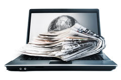 Globale Onlinezeitungen Stockfotografie