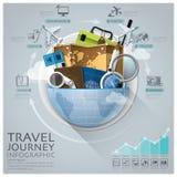 Globale Reis en Reis Infographic met Rond Cirkeldiagram Royalty-vrije Stock Afbeelding