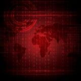 Globale rosso binario di tecnologia astratta Immagini Stock Libere da Diritti