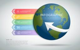 Globale Schablone des Designs infographic kann für Arbeitsfluß, Plan, Diagramm verwendet werden Lizenzfreie Stockfotografie