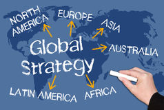 Globale Strategie - simsen Sie mit Pfeilen und Weltkarte Lizenzfreie Stockbilder