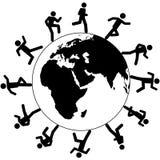 Globale Symbolleute laufen um die Welt Lizenzfreies Stockfoto