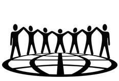 Globale symboolmensen rond aardebol vector illustratie