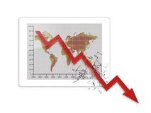 Globale Tablette der Krise Stockfoto