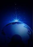 Globale technologie blauwe achtergrond Stock Foto