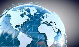 Globale telecommunicatie en wolk gegevensverwerking royalty-vrije illustratie