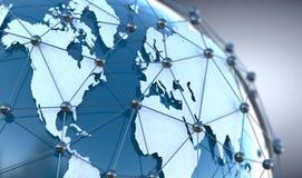 Globale telecommunicatie en wolk gegevensverwerking vector illustratie