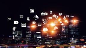 Globale verbinding en interactie Gemengde media Stock Afbeeldingen