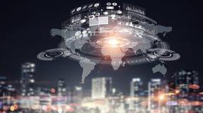 Globale verbinding en interactie Gemengde media Stock Foto's