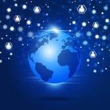 Globale Verbindingen Blauwe Achtergrond Stock Afbeelding