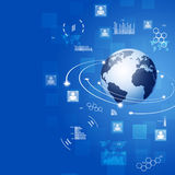 Globale Verbindingen Blauwe Bedrijfsachtergrond Royalty-vrije Stock Afbeeldingen
