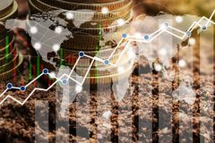 Globale Verbindungslinie der Doppelbelichtung und Industriebau Lizenzfreie Stockfotos