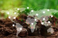 Globale Verbindungslinie der Doppelbelichtung und Industriebau Stockfoto