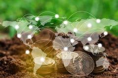 Globale Verbindungslinie der Doppelbelichtung und Industriebau Lizenzfreies Stockfoto