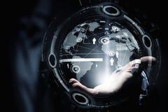 Globale Verbindungstechnologien Gemischte Medien lizenzfreie stockfotografie