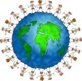 Globale verkennersjonge geitjes royalty-vrije illustratie