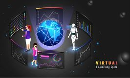 Globale verre coworking verbinding, het ontwerp van het Webmalplaatje voor Virt Stock Foto's