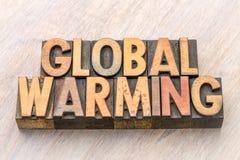 Globale verwarmende woordsamenvatting in houten type royalty-vrije stock afbeelding