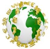 Globale Weltwährungszeichen um Welt Lizenzfreie Stockfotografie