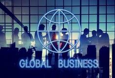 Globale Wereldzaken die Grafisch Pictogramconcept op de markt brengen Stock Foto