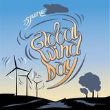 Globale Winddag 15 juni Vector illustratie royalty-vrije illustratie