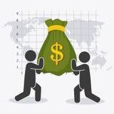 Globale Wirtschaft, Geld und Geschäft Stockbild