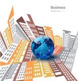 Globale zaken op stadsachtergrond, Internet-concept Royalty-vrije Stock Fotografie