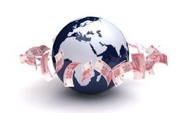 Globale Zaken Yuan Currency Royalty-vrije Stock Foto's