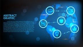 Globaler abstrakter digitaler Konzeptweltkartehintergrund des Geschäfts und der Technologie High-Techer Vektorillustrationsinnova stock abbildung