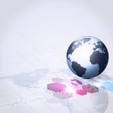 Globaler abstrakter Kommunikations-Geschäfts-Hintergrund Stockfotografie