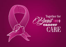 Globaler Brustkrebs-Bewusstseinsmensch übergibt Band  stock abbildung