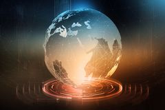 Globaler Datenaustausch Bildung eines planetarischen Kommunikationsnetzes Geschäft auf dem Gebiet von Digitaltechniken lizenzfreie abbildung