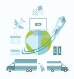 Globaler elektronischer Geschäftsverkehr mit Erde und Transport Stockbilder