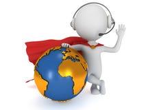 globaler Manager des Superhelden 3d Lizenzfreies Stockfoto