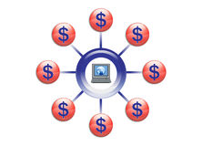 Globaler Reichtum mit Onlinemarketing-Abbildung lizenzfreie abbildung