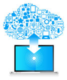 Globaler Sozialnetz Laptop Lizenzfreies Stockfoto