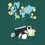 Globaler Teleunterricht des on-line-Bildungskonzept-E-Learnings Stockbild