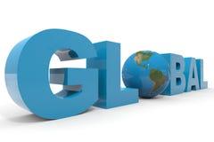 GLOBALER Text 3d. Erdekugel, die Zeichen O. ersetzt. Stockfotografie