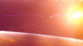 Globaler Unfall - Zusammenstoß eines Asteroiden mit der Erde Meteorit, der oben als er Fall in die Erde-` s Atmosphäre erhitzt Lizenzfreies Stockbild