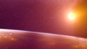 Globaler Unfall - Zusammenstoß eines Asteroiden mit der Erde Meteorit, der oben als er Fall in die Erde-` s Atmosphäre erhitzt Lizenzfreie Stockbilder