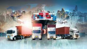 Globaler Unternehmenslogistik-Import-export Hintergrund und Behälterfrachtfrachtschiff stock abbildung
