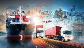 Globaler Unternehmenslogistik-Import-export Hintergrund und Behälterfrachtfrachtschiff lizenzfreie stockfotografie