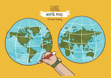 Globaler Weltkarteskizzenvektor Lizenzfreies Stockfoto