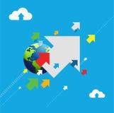 globales Bestimmungsortpfeil-Illustrationskonzept Stockbilder