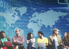 Globales binär Code-Stellen-Technologie-Software-Konzept Stockfotografie