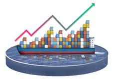 Globales Containerschiff Stockbilder