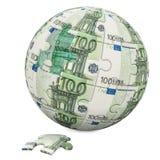 Globales Finanzkonzept Eurokugel von den Puzzlespielstücken 3d übertragen lizenzfreie abbildung
