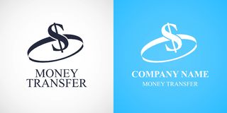 Globales Geldüberweisungsvektorlogo, Ikone Stockfoto