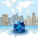 Globales Geschäft auf Stadthintergrund, Internet-Konzept von globalem Stockfoto