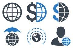 Globales Geschäft flache Glyph-Ikonen Stockfotos
